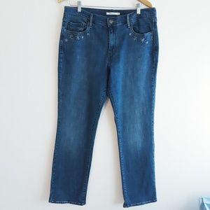 Levi's 505   straight leg w/embroidery jea…